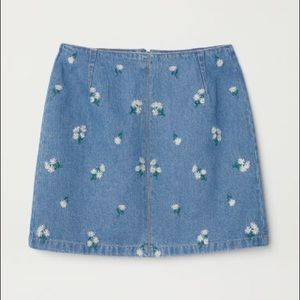 H&M denim skirt with floral embroidery